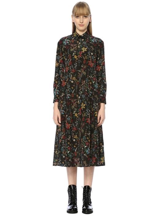 Kahverengi İngiliz Yaka Çiçek Desenli Midi Elbise