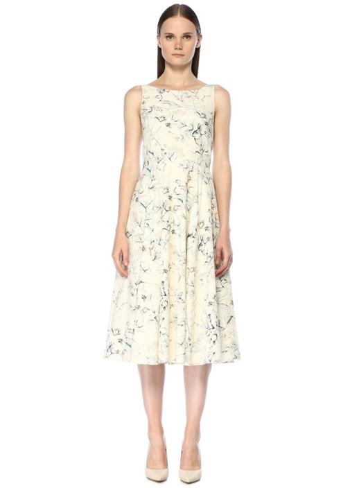 Beyaz Pastoral Desenli Sırtı Bağcıklı Midi Elbise