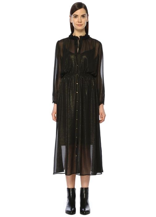 Siyah Dik Yaka Gold Simli Midi Şifon Elbise