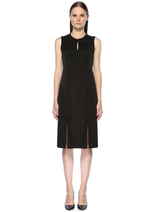 Siyah Yakası Taş Detaylı Midi Krep Abiye Elbise