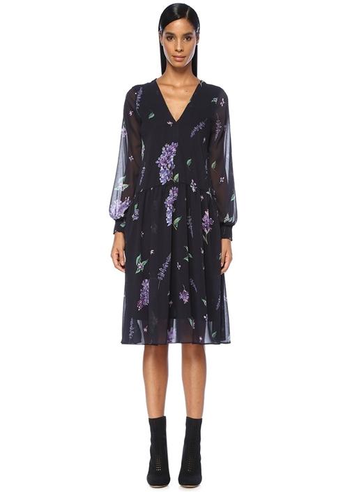 Lacivert V Yaka Çiçekli Kolu Lastikli Midi Elbise