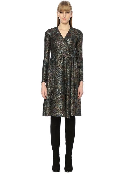 Anvelop Yaka Glitter Baskılı Mini Elbise