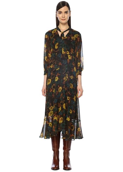 Kahverengi Yakası Fularlı Çiçekli Midi Elbise