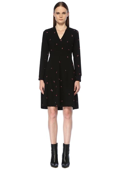 Siyah V Yaka Çiçek Nakışlı Midi Elbise