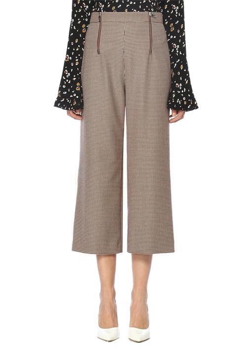 Ekru Yüksek Bel Kazayağı Desenli Cropped Pantolon