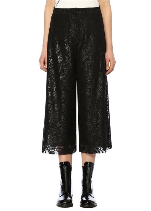 Siyah Çiçek Desenli Bol Paça Cropped Pantolon