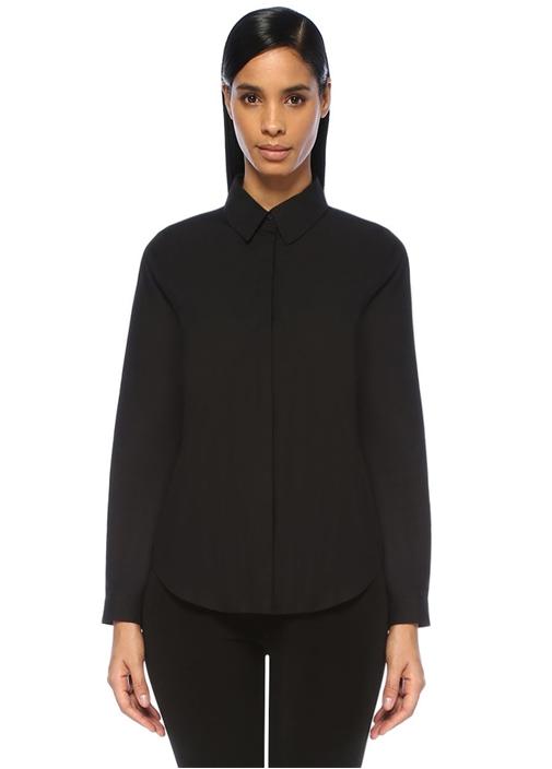Siyah Arkası Pileli Şifon Detaylı Gömlek