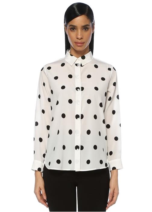 Beyaz Siyah Puantiye Desenli Klasik İpek Gömlek
