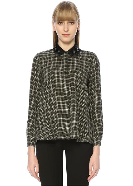 Siyah Ekose Desenli İşlemeli Gömlek