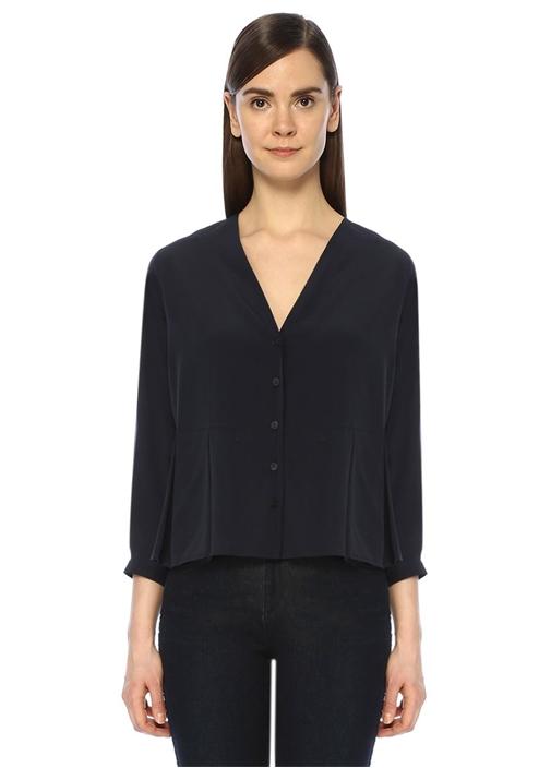 Lacivert Beli Pilikaşe Detaylı İpek Gömlek