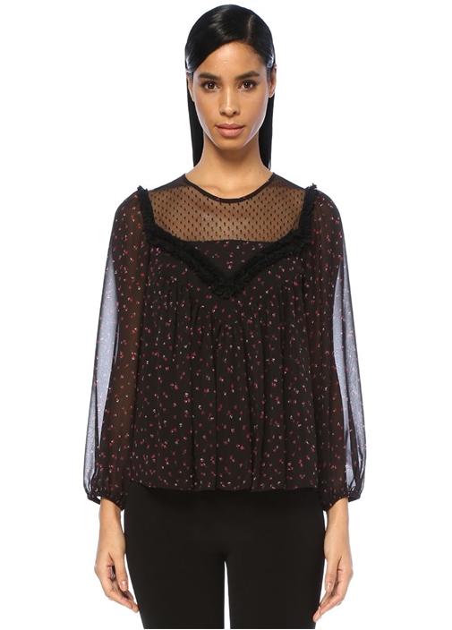 Siyah Çiçek Desenli Bluz