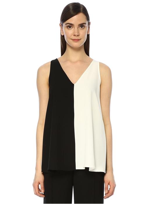 Siyah Beyaz V Yaka Garnili Krep Bluz