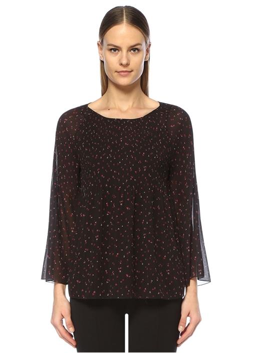 Siyah Emprime Çiçek Baskılı Pileli Bluz