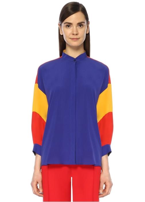 Lacivert Renk Bloklu İpek Gömlek