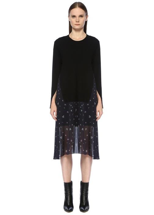 Siyah Mor Leylak Desenli Garnili Midi Elbise