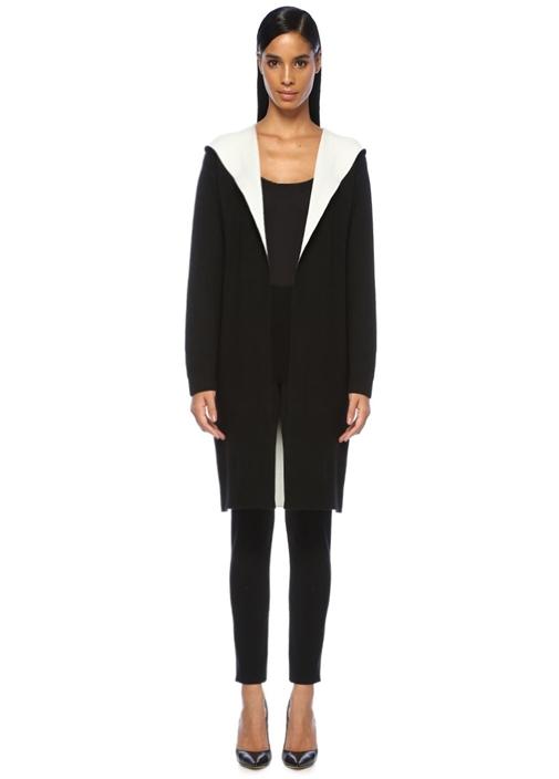 Siyah Beyaz Kapüşonlu Uzun Hırka