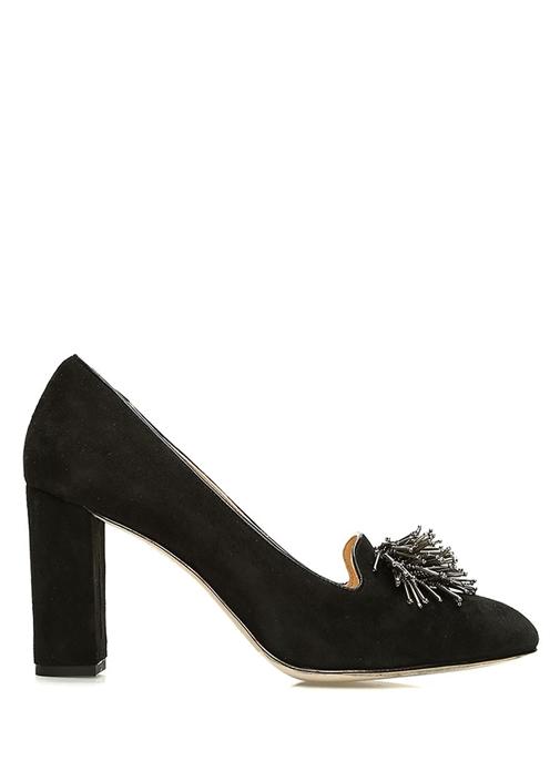Siyah Boncuk Ponpon Detaylı Kadın Süet Ayakkabı