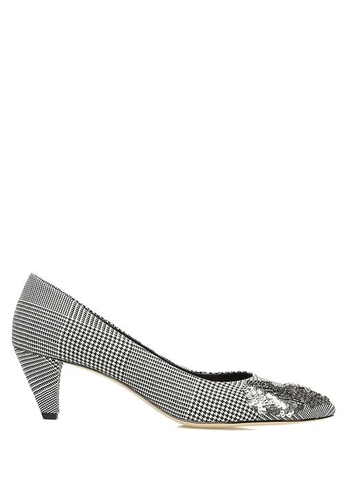 Kazayağı Desenli Payetli Kadın Topuklu Ayakkabı