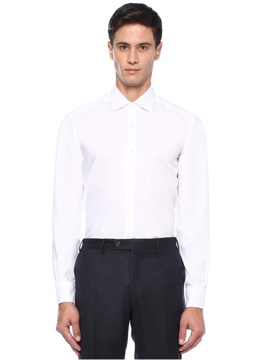 Non Iron Comfort Fit Beyaz Klasik Yaka Gömlek