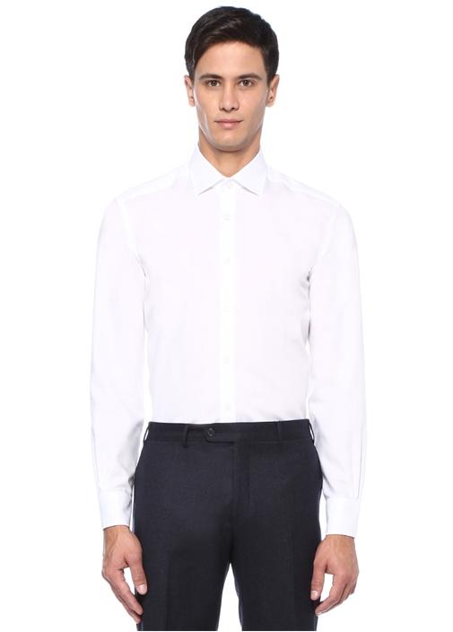 Comfort Fit Beyaz Non Iron Klasik TwillGömlek