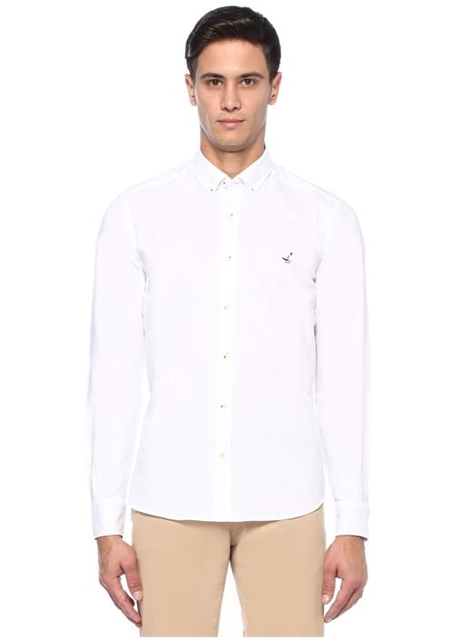 Comfort Fit Beyaz Yıkamalı Oxford Gömlek