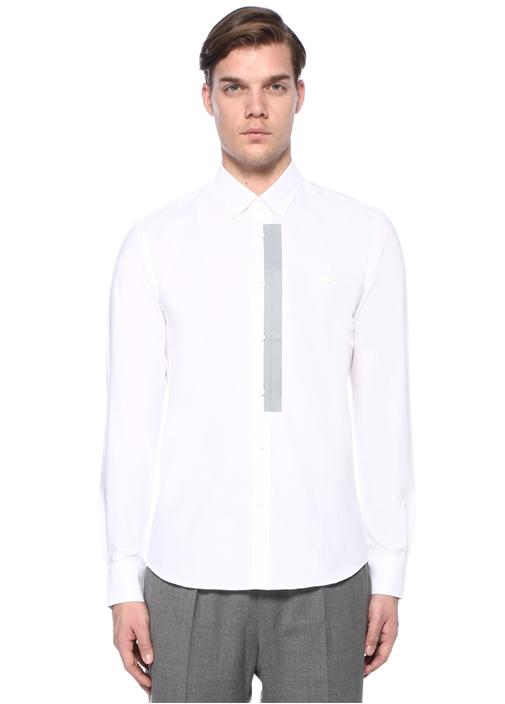 Slim Fit Beyaz Şerit Baskılı Gömlek