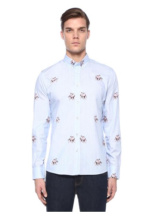 Slim Fit Mavi Sumocu Baskılı Gömlek