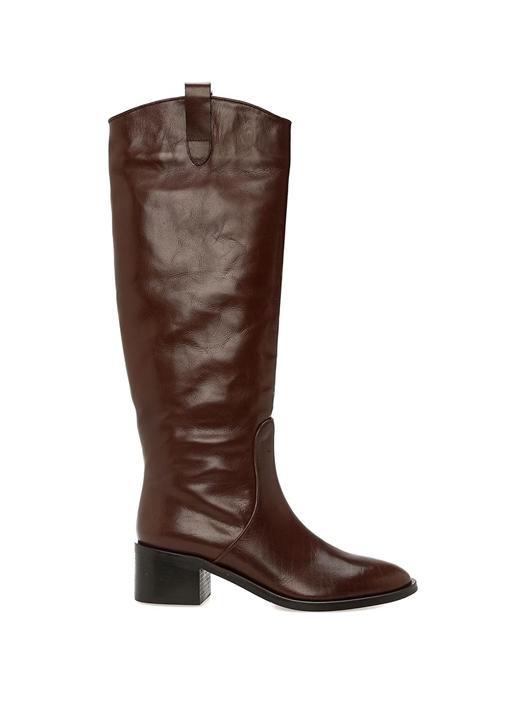 Kahverengi Kadın Deri Binici Çizme