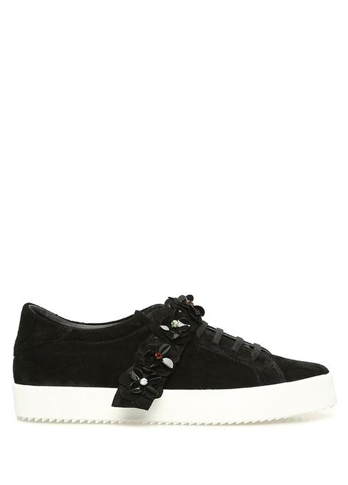 Siyah Çiçek Patchli Kadın Süet Sneaker
