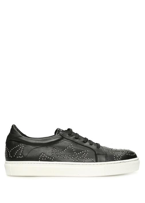 Siyah Troklu Kadın Deri Sneaker