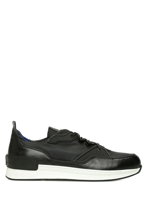 Siyah Dokulu Kauçuk Detaylı Erkek Deri Sneaker