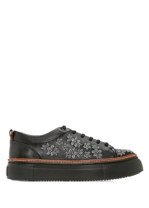 Siyah Nakış İşlemeli Kadın Deri Sneaker