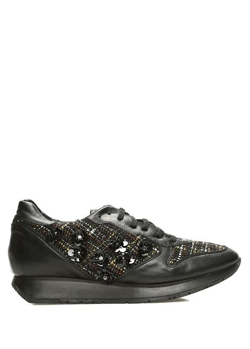 Siyah Kumaş Detaylı İşlemeli Kadın DeriSneaker