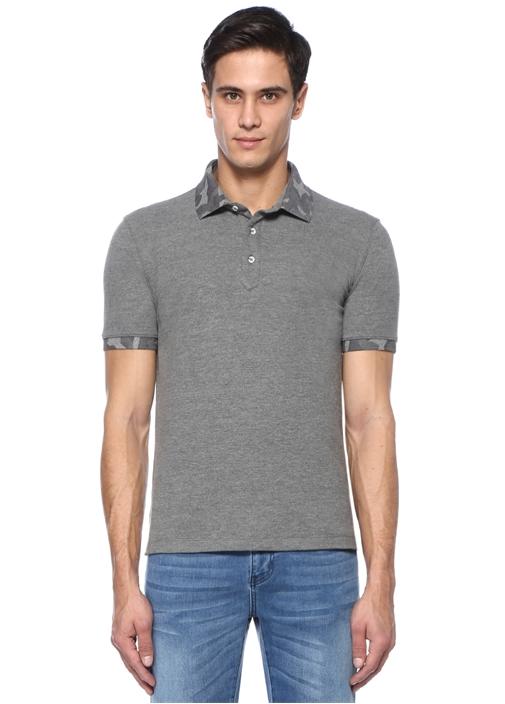 Gri Kamuflaj Baskı Detaylı Polo Yaka T-shirt