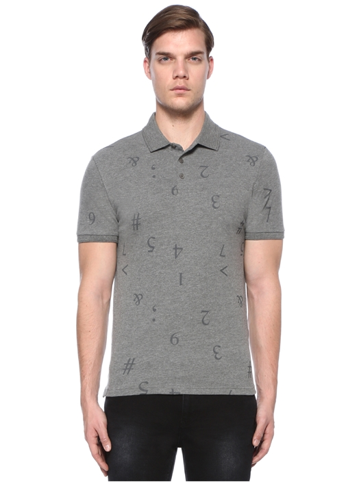 Slim Fit Gri Sayı Baskılı Polo Yaka T-shirt