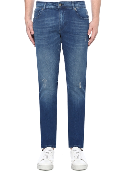 Slim Fit Normal Bel Yıpratmalı Jean Pantolon