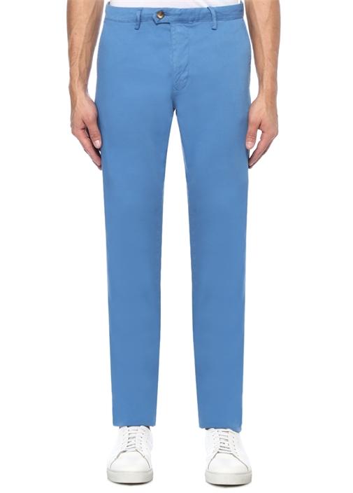 Slim Fit Mavi Dokulu Chino Pantolon