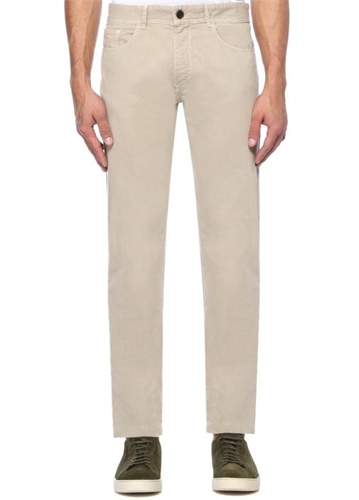 Slim Fit Bej Boru Paça Spor Pantolon