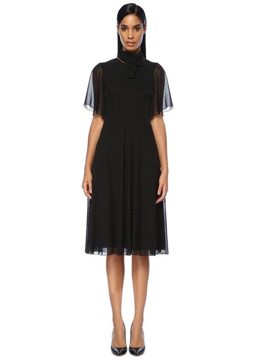 Siyah Kadife Puanlı Kolları Volanlı Midi Elbise