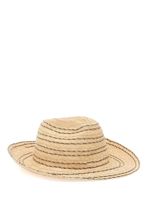 Bej Çizgili Kadın Hasır Şapka