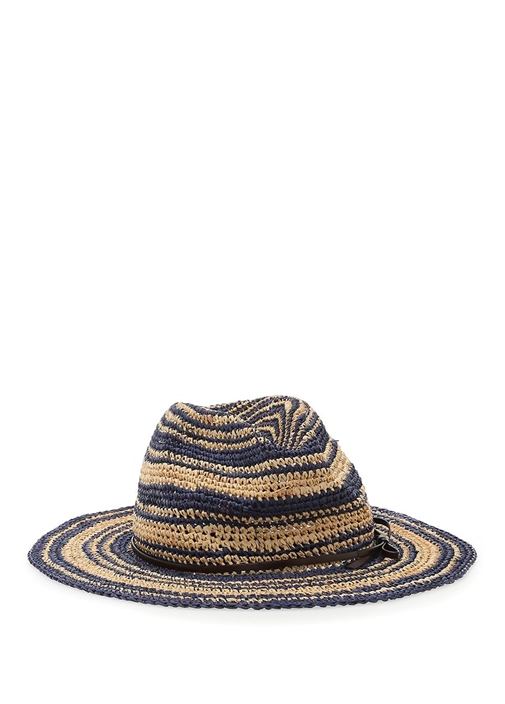 Lacivert Bej Çizgili Kadın Hasır Şapka