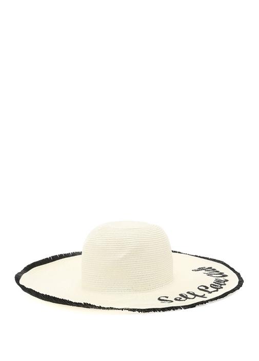 Ekru Örgü Dokulu Yazı Rafyalı Kadın Hasır Şapka