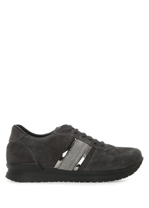 Antrasit Zincir Şeritli Kadın Nubuk Sneaker