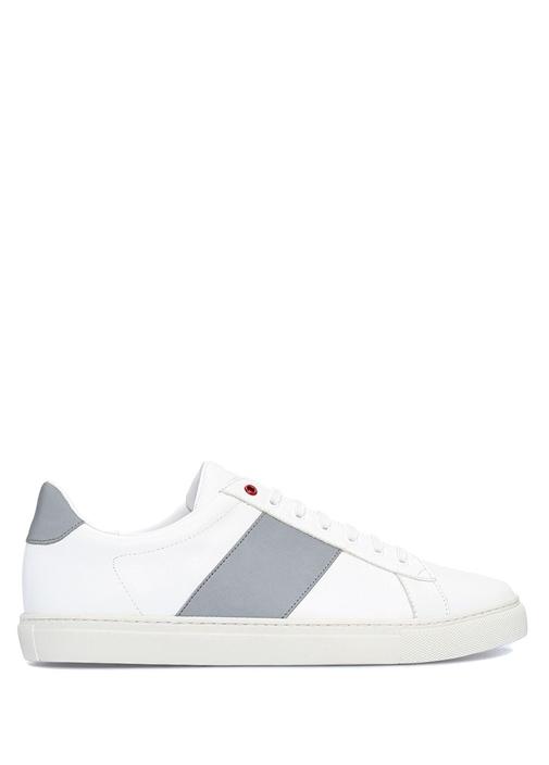 Beyaz Reflektör Şeritli Erkek Deri Sneaker