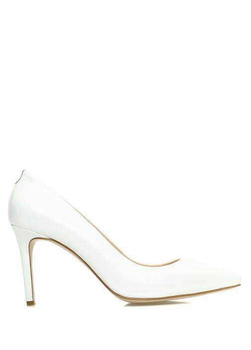 Beyaz Sivri Burun Kadın Deri Stiletto