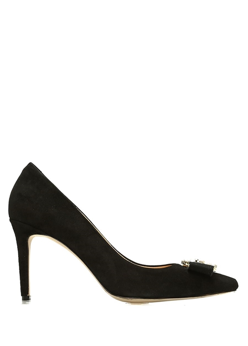 Siyah Taşlı Broş Detaylı Nubuk Topuklu Ayakkabı