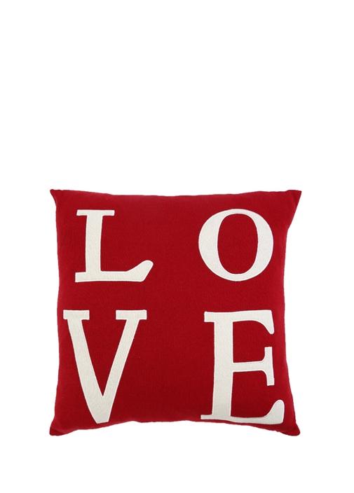 Kırmızı Love Nakışlı 40x40 cm DekoratifYastık