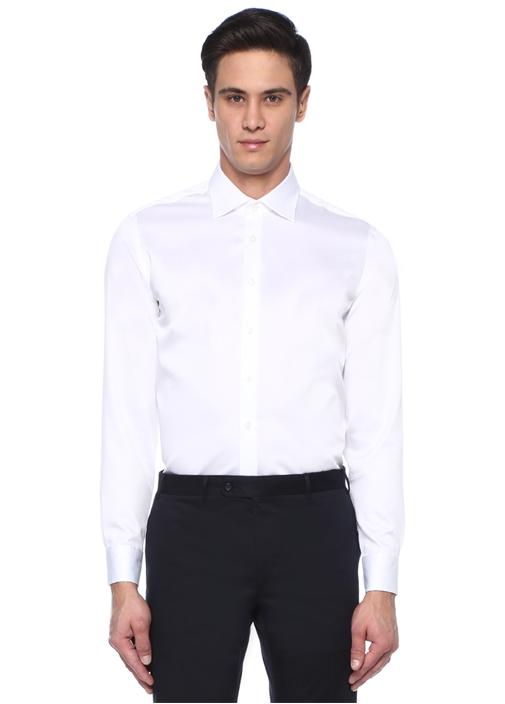 Slim Fit Beyaz Noniron Özellikli Stretch Gömlek