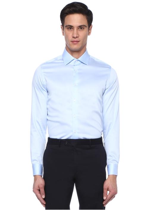 Slim Fit Mavi İngiliz Yaka Non İron Gömlek