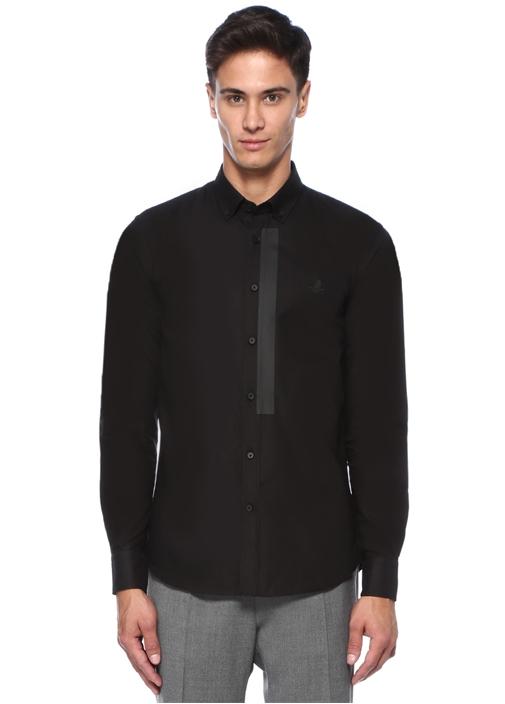 Slim Fit Siyah Şerit Baskılı Gömlek